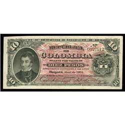 Bogota, Colombia, Republica de Colombia, 10 pesos, 1904, serial 0927812.