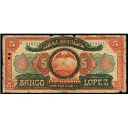 Bogota, Colombia, Banco Lopez, 5 pesos, 1-5-1919 overprint on Banco del Ruiz, 5 pesos, 1919, serial