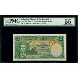 Bogota, Colombia, Banco de la Republica, 5 pesos oro, 1927, series M, serial 1687540, PMG AU 55.