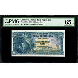 Bogota, Colombia, Banco de la Republica, 10 pesos oro, 1-1-1953, series N, serial 14651325, PMG Gem