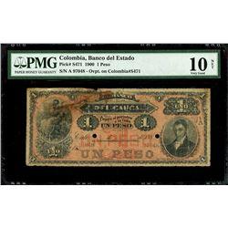 Popayan, Colombia, Banco del Estado, 1 peso, 29-2-1900 overprint on Cali, Colombia, Banco del Cauca,