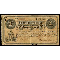 Socorro, Colombia, Estado de Santander, 1 peso, 29-4-1880, series 1, serial 2513.