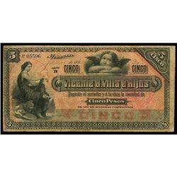 Medellin, Colombia, Vicente B. Villa e Hijos, 5 pesos, 1-2-1895, series B, serial 05596.