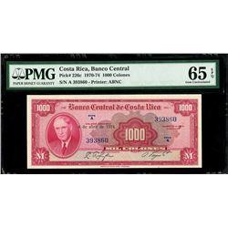 San Jose, Costa Rica, Banco Central de Costa Rica, 1000 colones, 4-4-1974, series A, serial 393860,