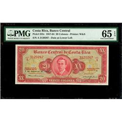 San Jose, Costa Rica, Banco Central de Costa Rica, 20 colones, 7-12-1960, series A, serial 3120267,