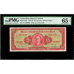 San Jose, Costa Rica, Banco Central de Costa Rica, 20 colones, 7-12-1960, series A, serial 3120268,
