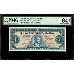 San Jose, Costa Rica, Banco Central de Costa Rica, 10 colones, 29-5-1967, series B, serial 3325567,