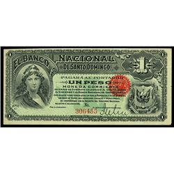 Santo Domingo, Dominican Republic, Banco Nacional de Santo Domingo, 1 peso remainder, no date (1889)