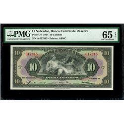 San Salvador, El Salvador, Banco Central de Reserva, 10 colones, 31-8-1934, series A, serial 017845,