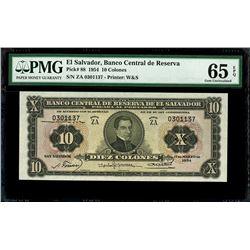 San Salvador, El Salvador, Banco Central de Reserva, 10 colones, 17-3-1954, series ZA, serial 030113
