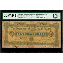 Falkland Islands, Government of the Falkland Islands, 1 pound, 3-3-1915, serial B05682, PMG Fine 12,