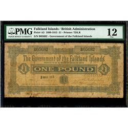 Falkland Islands, Government of the Falkland Islands, 1 pound, 3-3-1915, serial B05682, PMG Fine 12,