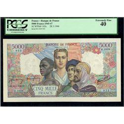 Paris, France, Banque de France, 5000 francs, 28-3-1946, serial H.1959 953, PCGS XF 40.