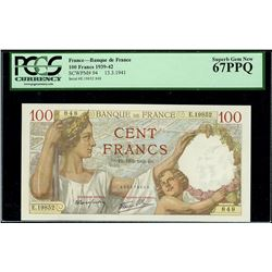 Paris, France, Banque de France, 100 francs, 13-3-1941, serial E. 19852 848, PCGS Superb Gem New 67P