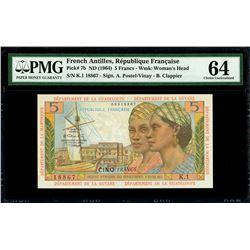 French Antilles, Republique Francaise, 5 francs, no date (1964), serial K.1 18867, PMG Choice UNC 64