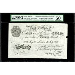 London, Great Britain, Bank of England, counterfeit 20 pounds, 20-7-1936, block 52/M, serial 85729,