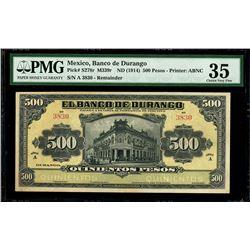 Durango, Mexico, 500 pesos remainder, no date (1914), series A, serial 3830, PMG Choice VF 35.