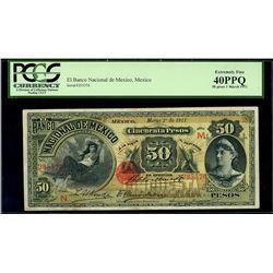Mexico City, Mexico, Banco Nacional, 50 pesos, 1-3-1911, series N, serial 235576, PCGS XF 40 PPQ.