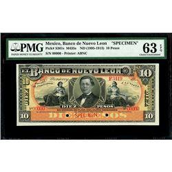 Monterey, Mexico, Banco de Nuevo Leon, 10 pesos specimen, no date (1895-1913), PMG Choice UNC 63 EPQ