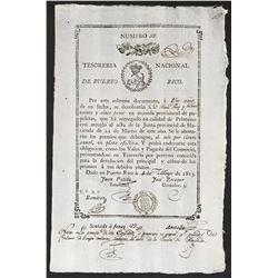 Puerto Rico, National Treasury, 25 pesos promissory note, 1813.
