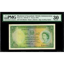 Salisbury, Rhodesia and Nyasaland, 1 pound, 12-2-1960, serial X/37 091516, PMG VF 30.