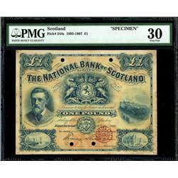 Edinburgh, Scotland, National Bank of Scotland Limited, 1 pound specimen, 11-11-1889, PMG VF 30, rar
