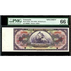 Caracas, Venezuela, Banco Mercantil y Agricola, 100 bolivares specimen, no date (1929), PMG Gem UNC