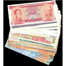 Lot of 73 Venezuela specimen notes, Banco Central, various denominations, 1973-2014.