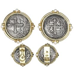 Pair of Mexico City, Mexico, cob 1R, Philip II, assayers not visible, mounted in 18K earrings with d