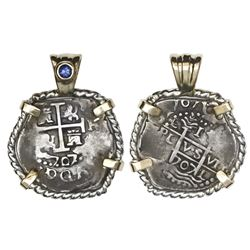 Lima, Peru, cob 1 real, 1707H, mounted cross-side out in twisted-wire silver bezel with gold prongs