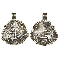 Lima, Peru, cob 2 reales, 1710H, mounted cross-side out in 14K gold bezel with ship's-helm embellish