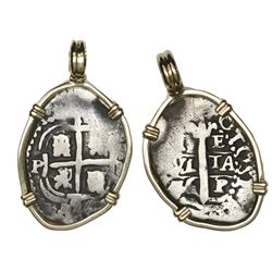 Potosi, Bolivia, cob 1 real, 1656E, mounted cross-side out in 14K bezel.