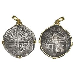 Potosi, Bolivia, cob 8 reales, 1617M, Grade 1, ex-Atocha (1622), mounted cross-side out in 18K bezel
