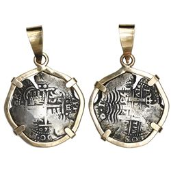 Potosi, Bolivia, cob 8 reales, 1653E, ex-Capitana, mounted cross-side out in 14K rose-gold bezel wit