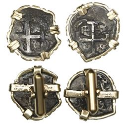 Pair of cufflinks made from two Potosi, Bolivia, cob 1R, 1739M and 1749q, ex-unidentified ca.-1795 w