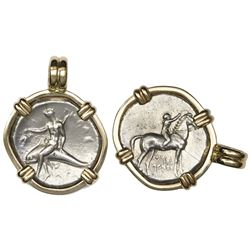"Calabria, Tarentum, AR nomos, 272-235 BC, ""boy on dolphin,"" mounted dolphin-side out in 14K bezel."