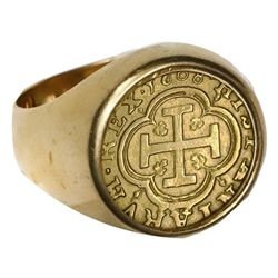 Segovia, Spain, milled gold 1 escudo, 1608, mounted cross-side out in 18K men's ring, size 11.