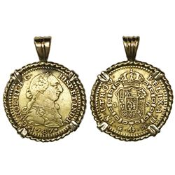 Madrid, Spain, bust gold 1 escudo, Charles III, 1787DV, mounted in twisted-wire 18K gold bezel.