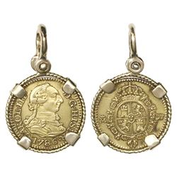 Madrid, Spain, bust gold 1/2 escudo, Charles III, 1786DV, mounted in twisted-wire 18K gold bezel wit