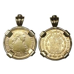 Madrid, Spain, bust gold 2 escudos, Charles IV, 1789MF, mounted in 14K gold bezel with sapphire at t