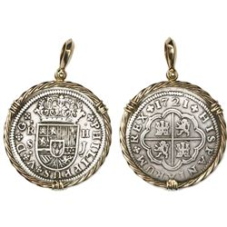 "Seville, Spain, milled 2 reales ""pistareen,"" Philip V, 1721J, mounted in twisted-wire 14K bezel with"