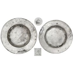 Silver plate with tax stamps for Cuzco, Peru, showing date 1605 (1603?), ex-Atocha (1622).