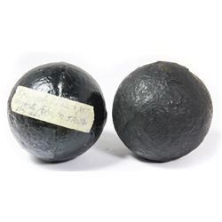 Lot of two small iron cannonballs, professionally conserved, ex-1715 Fleet.