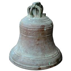 Large bronze bell dated 1774, ex-unidentified late-1700s shipwreck off the Isle of Wight, south of E