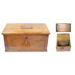 Wooden dovetail lockbox made from wood salvaged from Lord Nelson's flagship Foudroyant (1897).