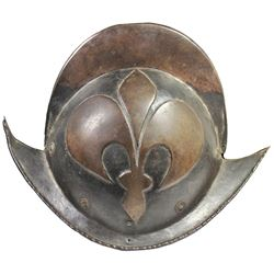 1600s German morion helmet with embossed fleur-de-lis pattern.