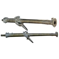 Late-1700s / early-1800s Dutch East Indies bronze lantaka cannon with original yoke.