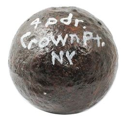 "French and Indian War-period iron cannonball ""four pounder"" from Crown Point, New York."