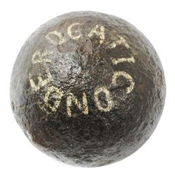 Revolutionary War-period iron cannonball  four pounder  from Ft. Ticonderoga, New York.