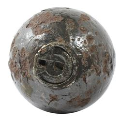"Civil War-period iron cannonball ""twelve-pounder"" grenade from Cold Harbor (Virginia), with Bormann"